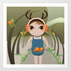 Deery Fairy and Oranges Art Print