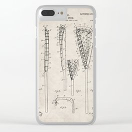 Lacrosse Stick Patent - Lacrosse Player Art - Antique Clear iPhone Case
