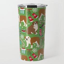 English Bulldog christmas pattern print pet friendly pet portrait dog art Travel Mug
