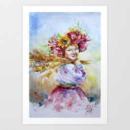 Ukrainian girl in fields Art Print