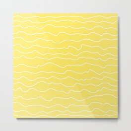 Yellow with White Squiggly Lines Metal Print