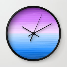 Purple Sunset on Blue Ocean Minimalist Painting Wall Clock