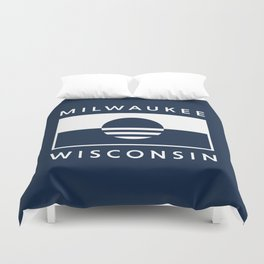 Milwaukee Wisconsin - Navy - People's Flag of Milwaukee Duvet Cover