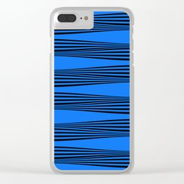 Blue Wave Stripes Clear iPhone Case