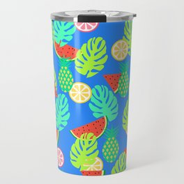 Watermelons and pineapples in blue Travel Mug