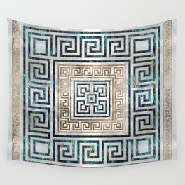 Greek Key Ornament - Greek Meander -Abalone and gold Wall Tapestry