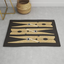 Laundry Clothespins - Gold Glitter, Black and White Rug