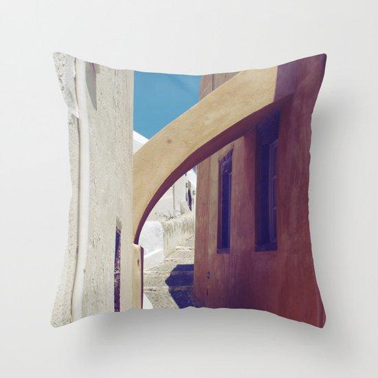 Santorini Walkway III Throw Pillow