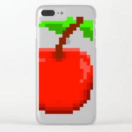 8-Bit Pixel Art Cherry Retro Video Game Design Clear iPhone Case