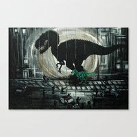 dinosaur Canvas Prints featuring dinosaur by mass confusion
