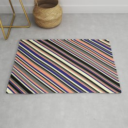 Colorful Dim Grey, Light Salmon, Midnight Blue, Light Yellow & Black Colored Lines Pattern Rug