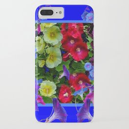 HOLLYHOCKS & MORNING GLORIES COTTAGE BLUE ART iPhone Case