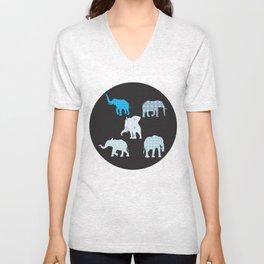 Five Elephants version2 Unisex V-Neck