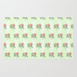 Stem Rose Watercolor Pattern Mint Rug