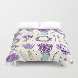 Modern ivory lavender purple vector floral pattern Duvet Cover