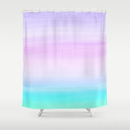 Touching Unicorn Girls Watercolor Abstract #1 #painting #decor #art #society6 Shower Curtain
