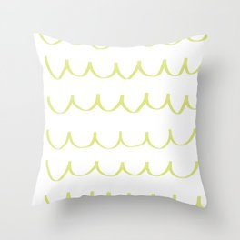 Citron Green Waves Throw Pillow