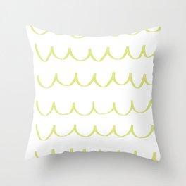 Citron Green Waves Throw Pillow