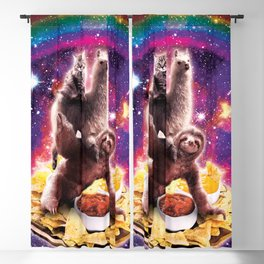 Space Cat Llama Sloth Riding Nachos Blackout Curtain