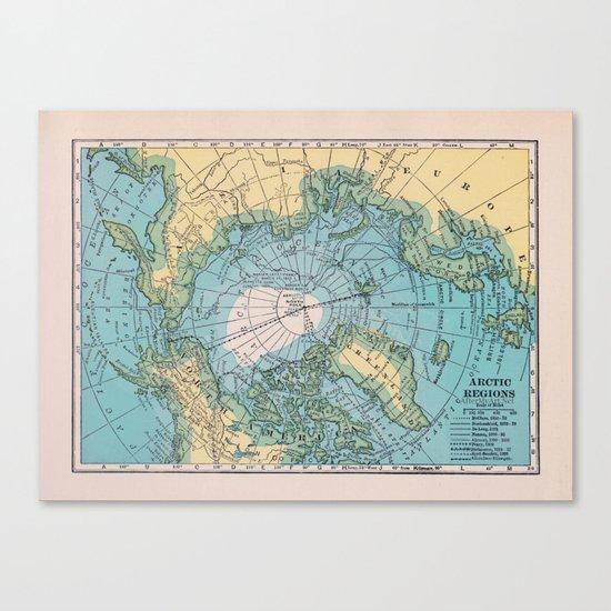 Vintage Arctic Map Canvas Print
