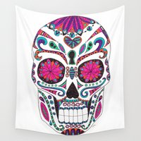 sugar skull Wall Tapestries featuring Sugar Skull by Laura Maxwell