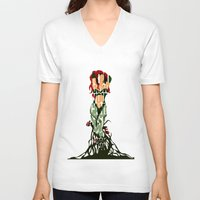 poison ivy V-neck T-shirts featuring Poison Ivy by Ayse Deniz