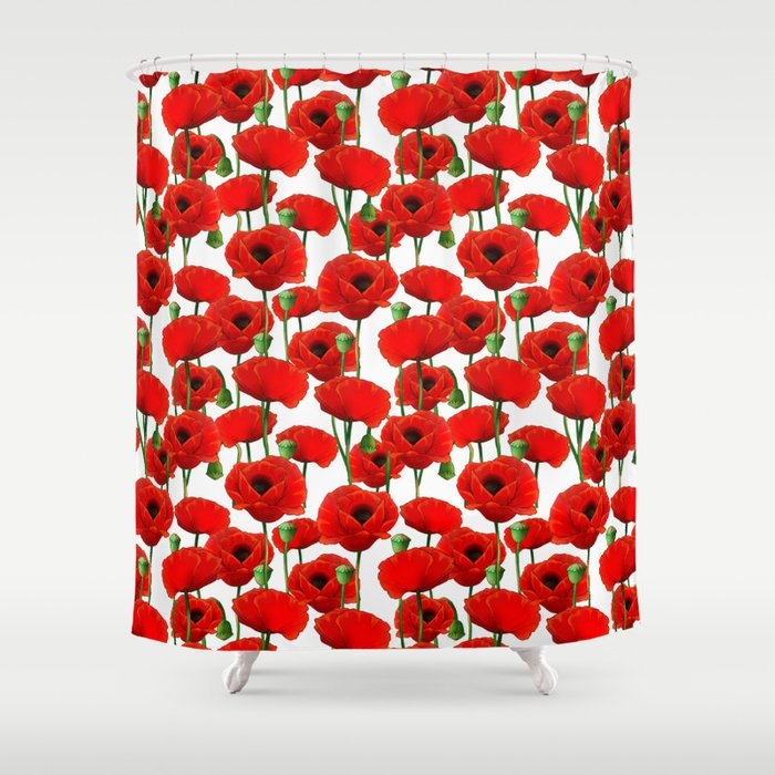 Red Poppy Pattern Shower Curtain by tanyalegere | Society6