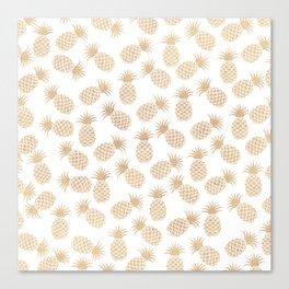 Modern blush brown tropical summer fruit pineapple Canvas Print