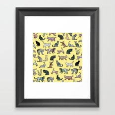 Cats shaped Marble - Sun Yellow Framed Art Print