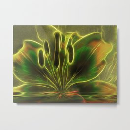 Green Lily Reflections Metal Print
