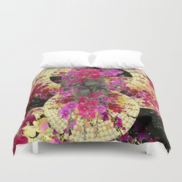 CORAL PINK & HOLLYHOCKS ABSTRACT GARDEN Duvet Cover