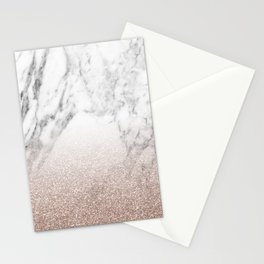 Marble sparkle rose gold Stationery Cards