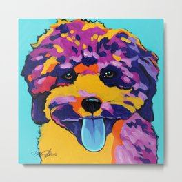 Chloe the Curly Dog Metal Print