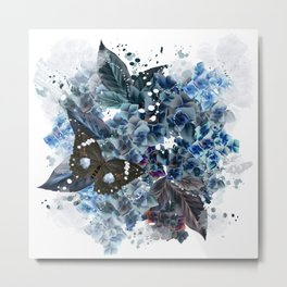 Beautiful bright pattern with hydrangea flowers and butterflies Metal Print