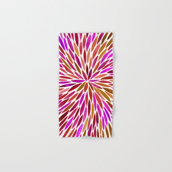 Pink Watercolor Burst Hand & Bath Towel