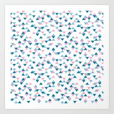 Triangles Blue and Pink Repeat Art Print