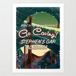 Stephens Gap Alabama Caving cartoon travel poster Art Print