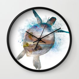 Turtle Double Exposure Watercolor Wall Clock