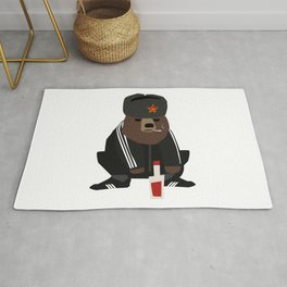 Gopnik bear squatting on the street  Rug
