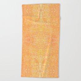 Ombre yellow and orange swirls doodles Beach Towel
