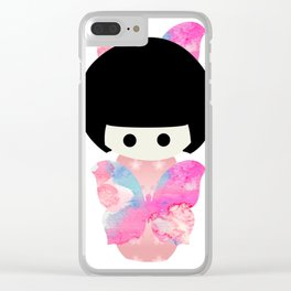 Butterfly Kokeshi Clear iPhone Case