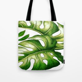 Large Green Tropical Leaves Tote Bag