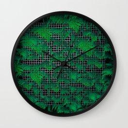 Fern Grid Plant Wall Wall Clock