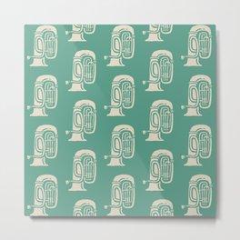 Tuba Pattern Green and Beige Metal Print