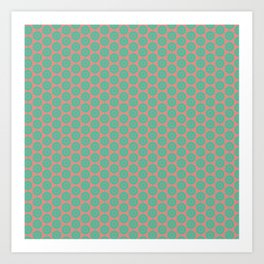 Minty Salmon Pink Background Green Circles Art Print