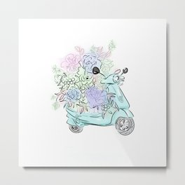 flowers and scooter. Flowers art Flower Art Print. Metal Print