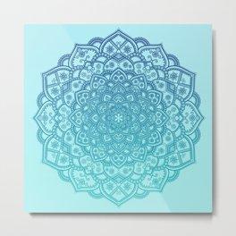 Mandala Seafoam Blue Aqua Ombre Bohemian Embellishments Metal Print