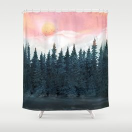 Forest Under the Sunset Shower Curtain