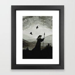 Odin, Huginn and Muninn. Framed Art Print