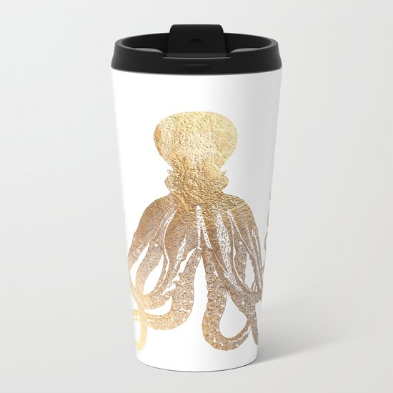 Gold Octopus  Metal Travel Mug